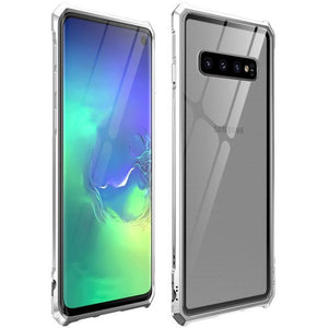 Metal Frame Bumper with Clear Tempered Glass Back Cover for S10 E - My Wish Boxx