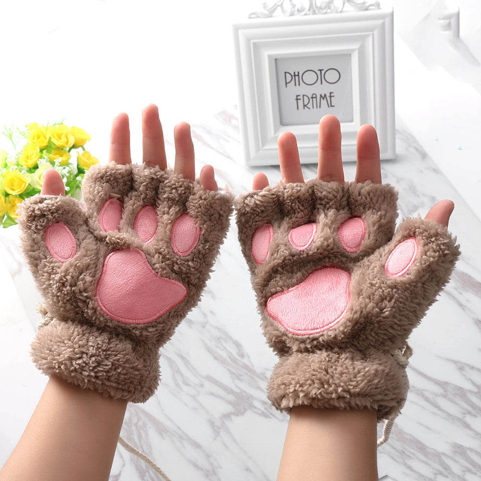 1pair Fluffy Bear/Cat Plush Paw/Claw Girls Gloves Novelty Halloween Soft Toweling Half Covered Women's Gloves Mittens Fingerless