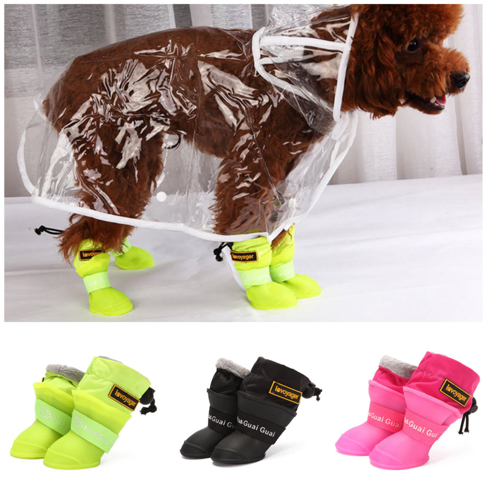 Dog Rain Boots for Small Medium Dogs Waterproof Dog Shoes Winter Warm Puppy Snow Boots Fleece Soft Silicon Adjustable Anti-SlipDog Rain Boots for Small Medium Dogs Waterproof Dog Shoes Winter Warm Puppy Snow Boots Fleece Soft Silicon Adjustable Anti-Slip