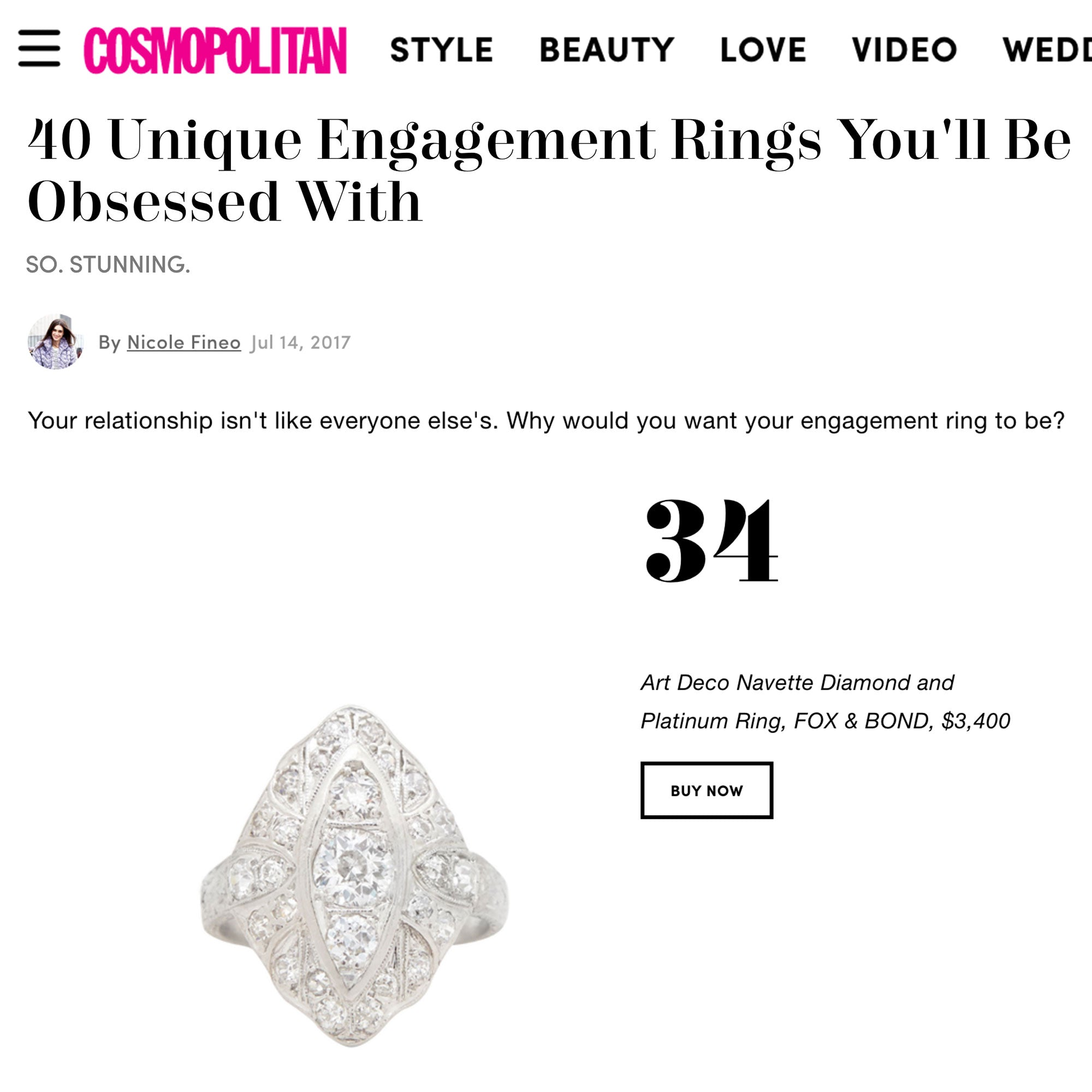 Cosmopolitan.com: 40 Unique Engagement Rings You'll Be Obsessed With