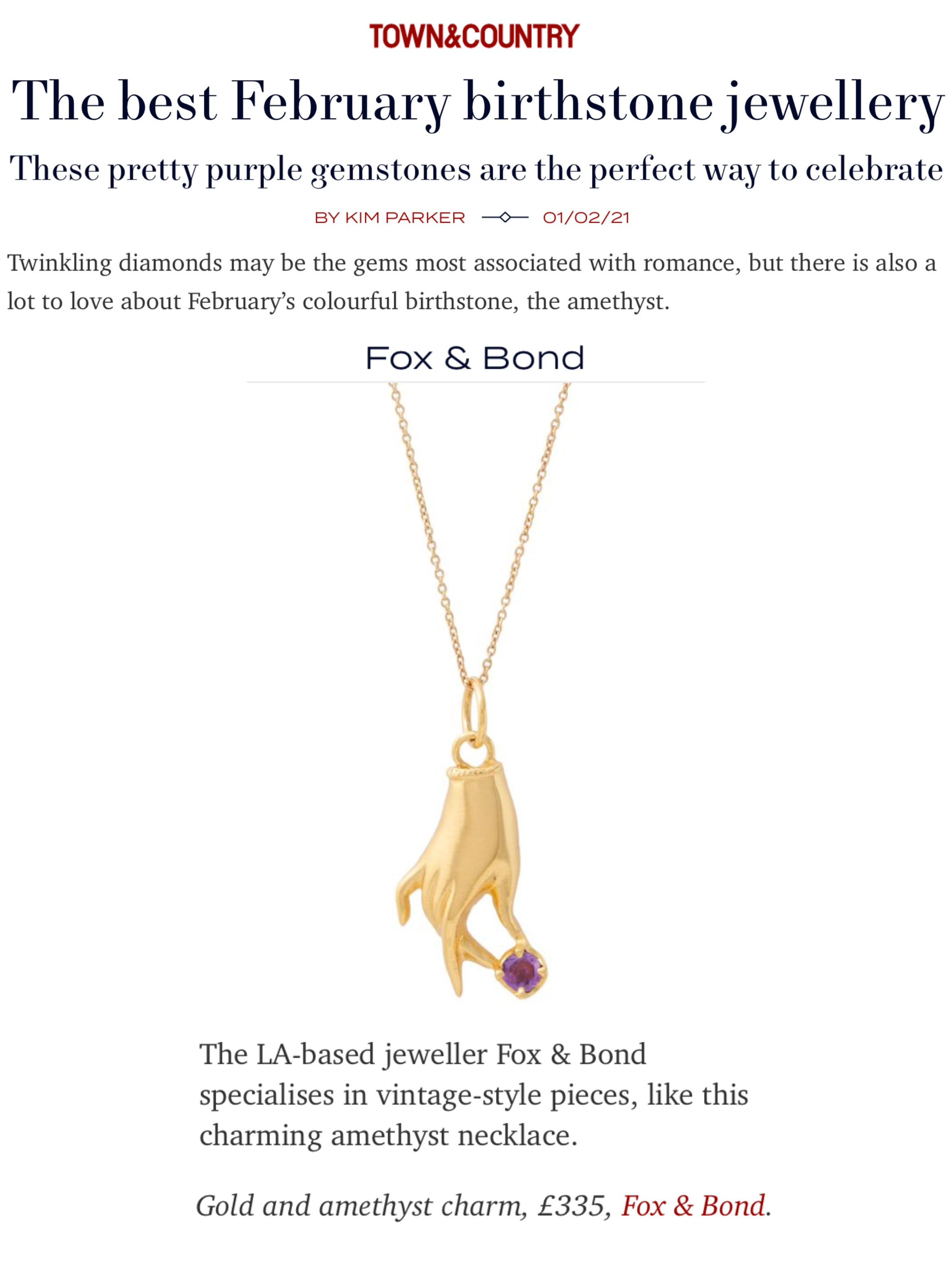 Town & Country UK: The best February birthstone jewellery