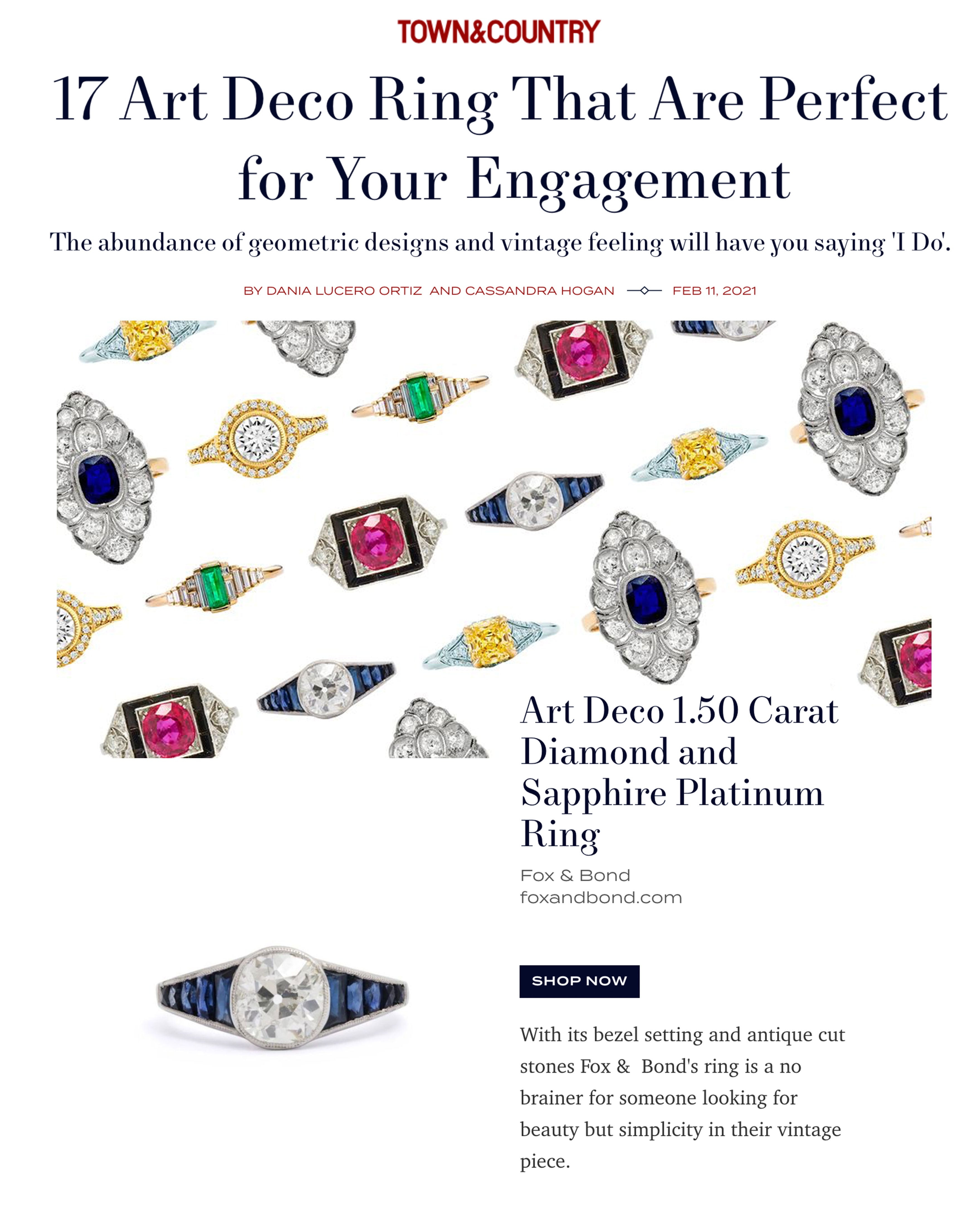 Town & Country: 17 Art Deco Ring That Are Perfect for Your Engagement