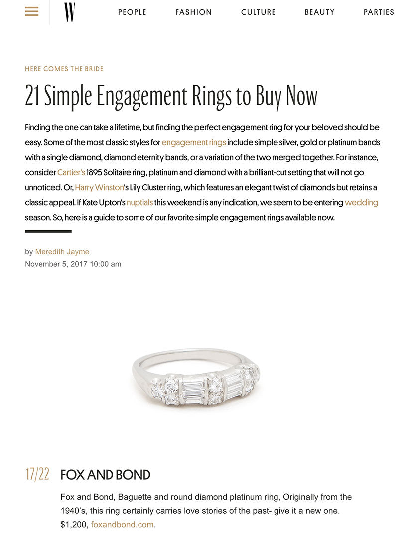 WMagazine.com: 21 Simple Engagement Rings to Buy Now
