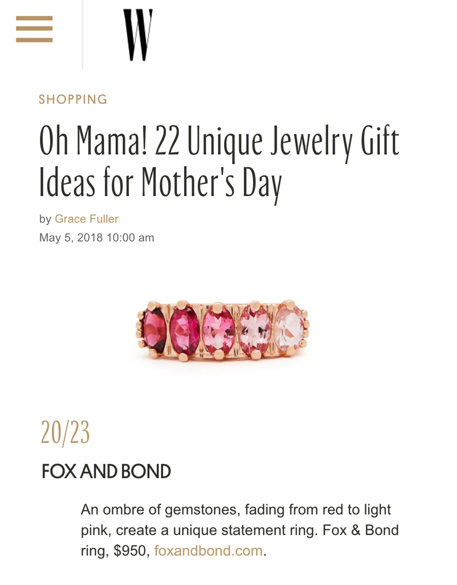 WMagazine.com: 22 Unique Jewelry Gift Ideas for Mother's Day