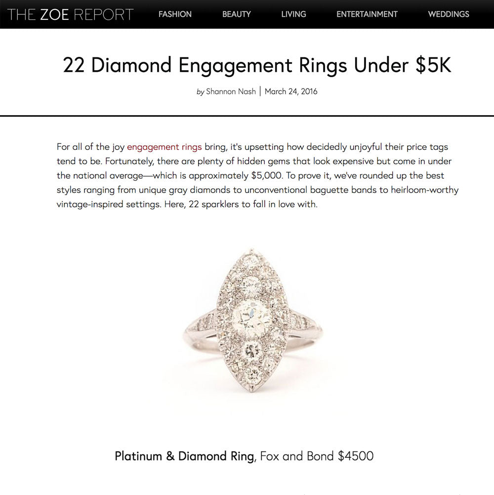 The Zoe Report: 22 Diamond Engagement Rings Under $5K