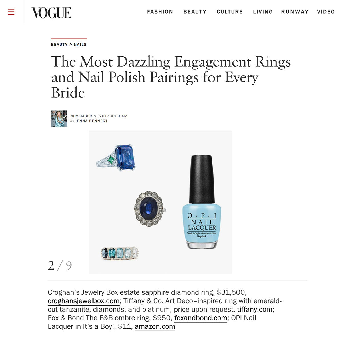 Vogue.com: The Most Dazzling Engagement Rings and Nail Polish Pairings for Every Bride