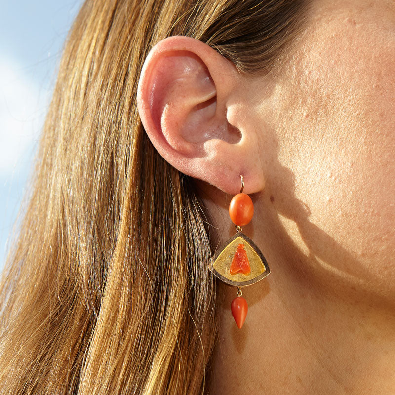 Victorian Coral Fly And 14K Gold Dangle Earrings