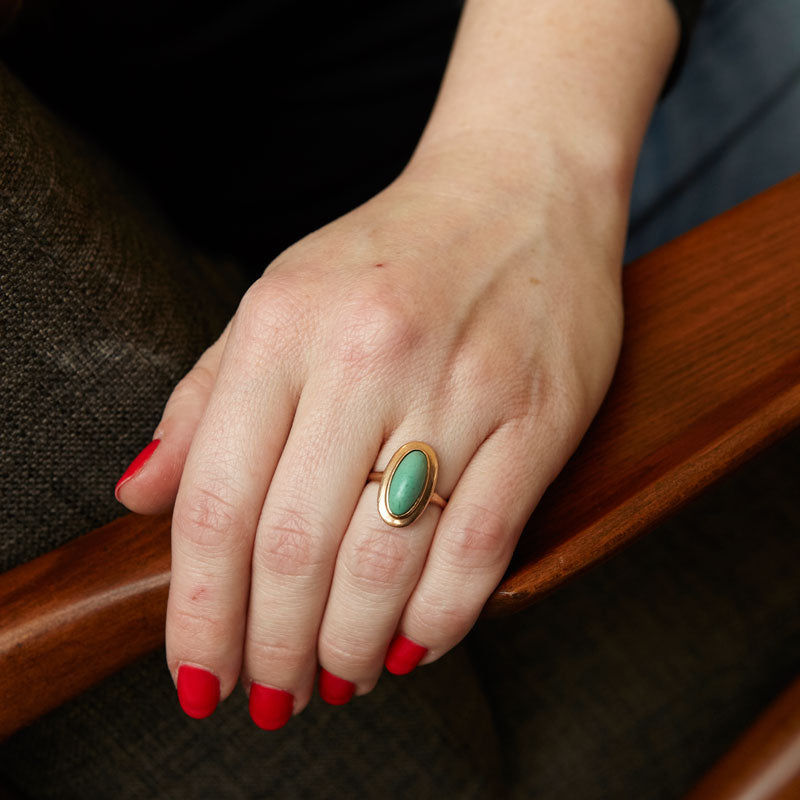 Green Turquoise And 14K Rose Gold Ring