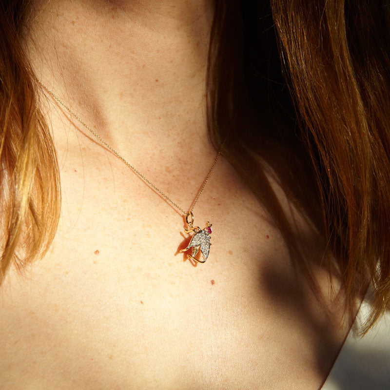 Edwardian Diamond And Ruby Bug 14k Gold Charm