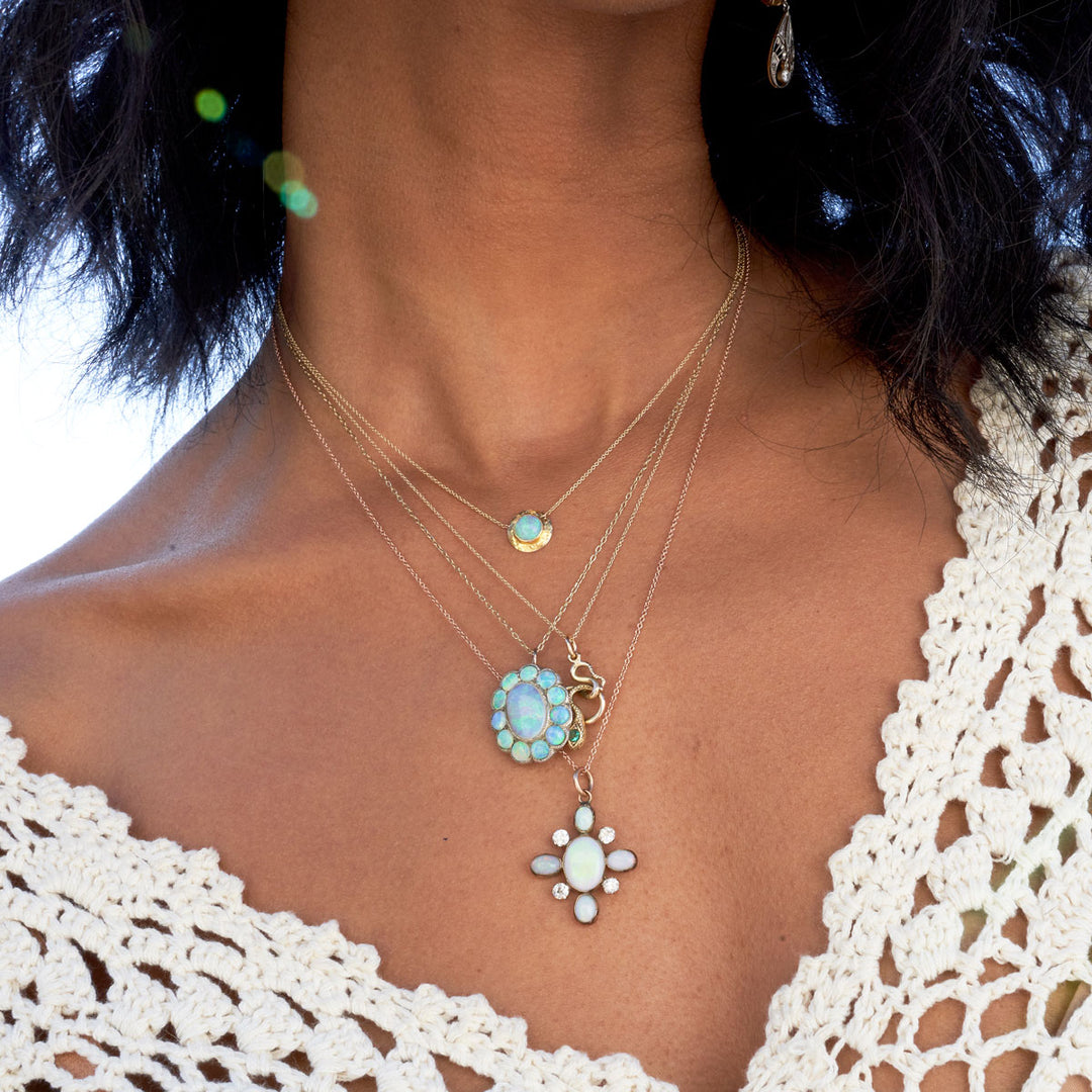 Victorian Diamond And Opal Pendant Necklace