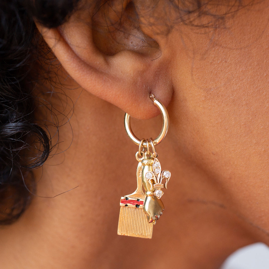 Coral Cornicello Horn And 18K Gold Charm