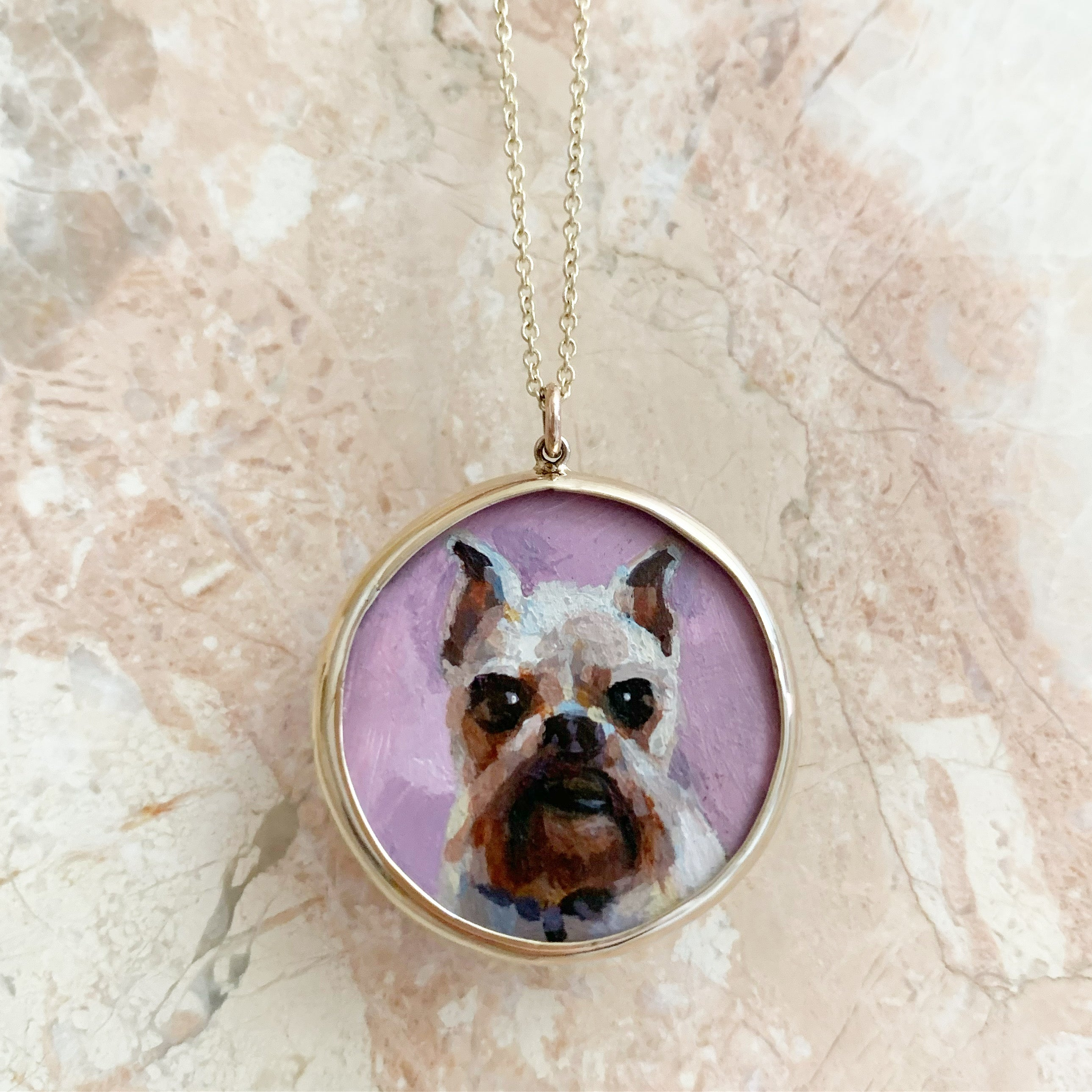 The F&B Custom Hand-Painted Pet Portrait Necklace With Rose Cut Sapphires