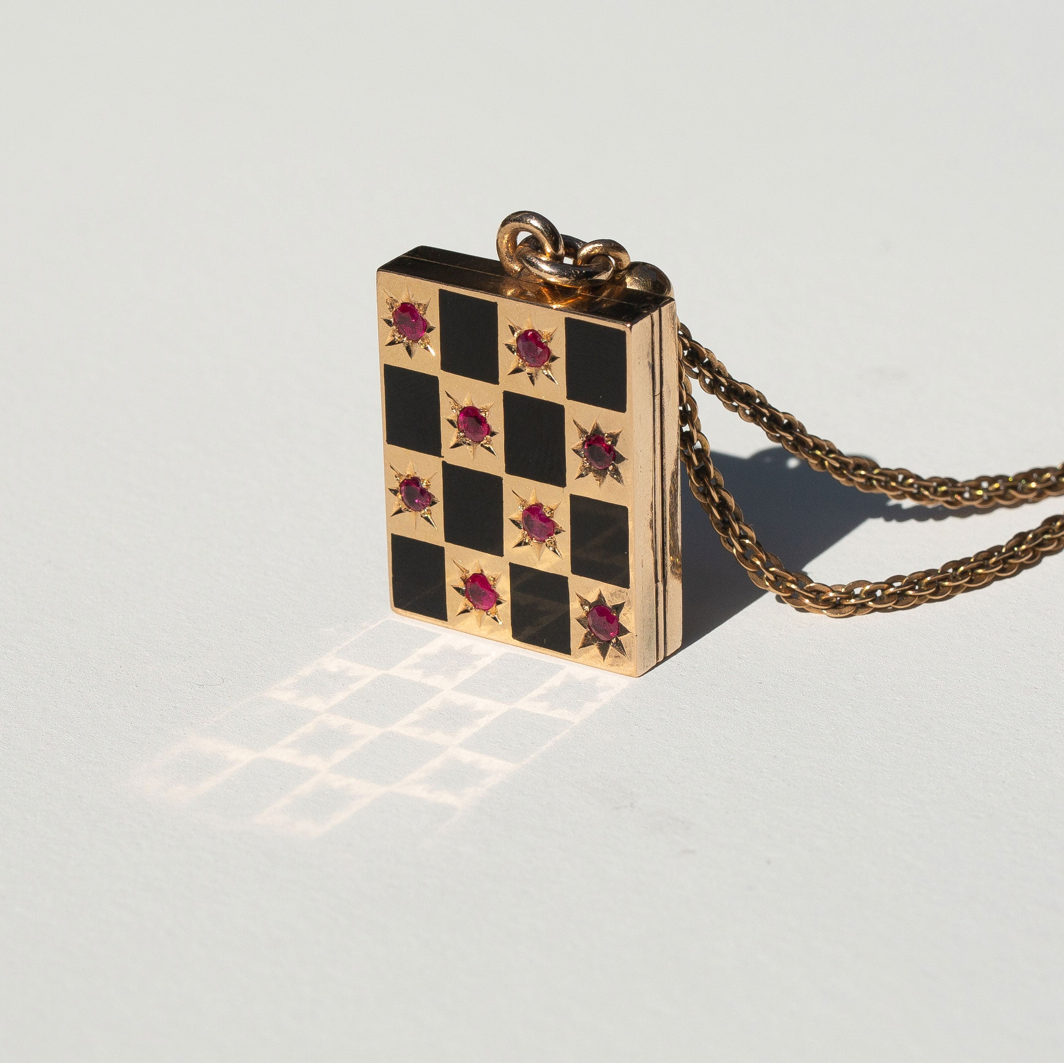 Victorian Ruby, Enamel, and 14k Gold Checkerboard Locket