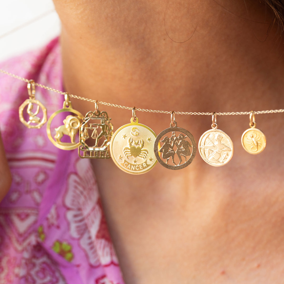 Cancer 14K Gold Disc Zodiac Charm