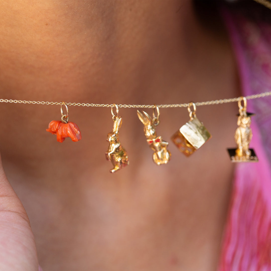 Petite Coral Elephant and 14k Gold Charm