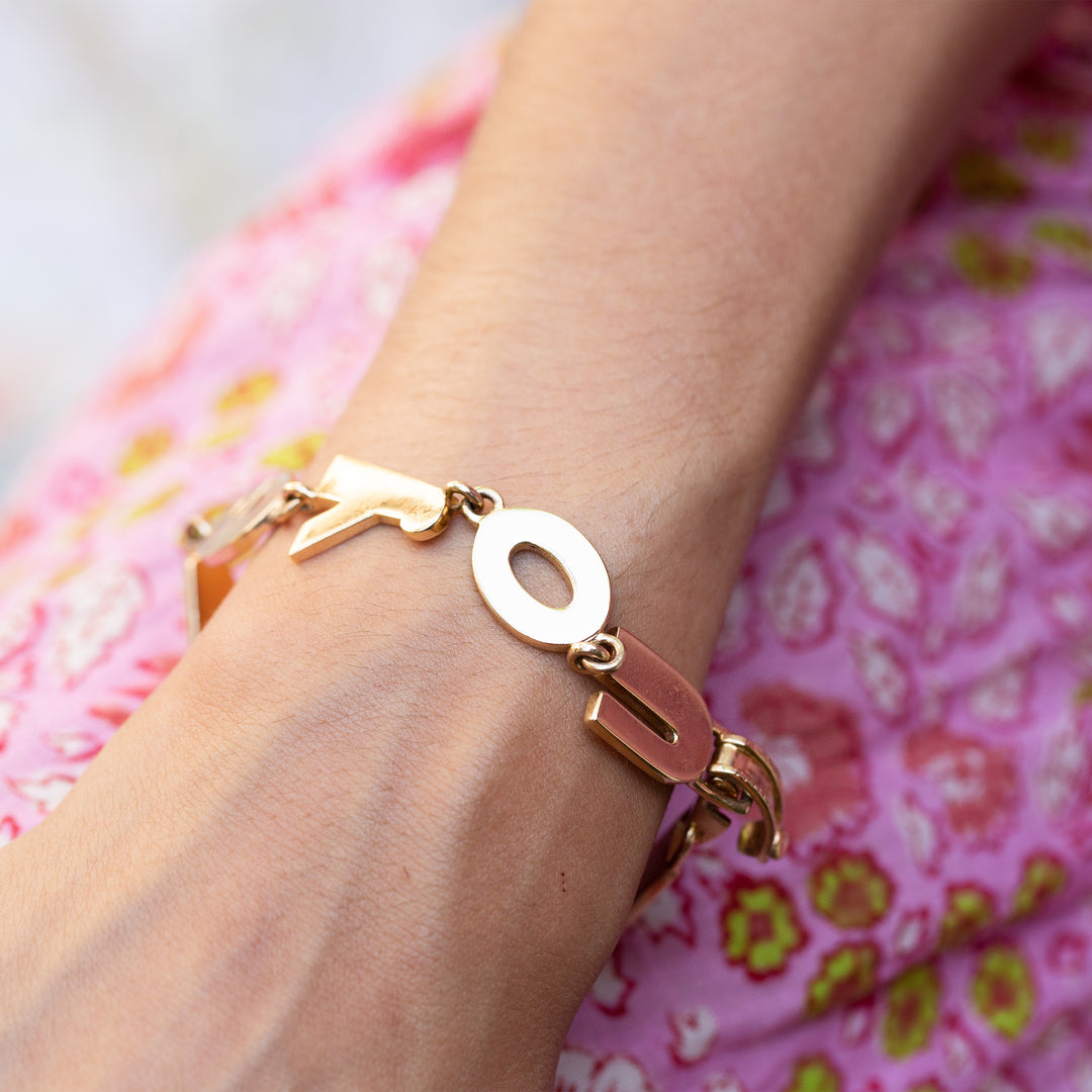 """I LOVE YOU"" 14k Gold Link Bracelet"