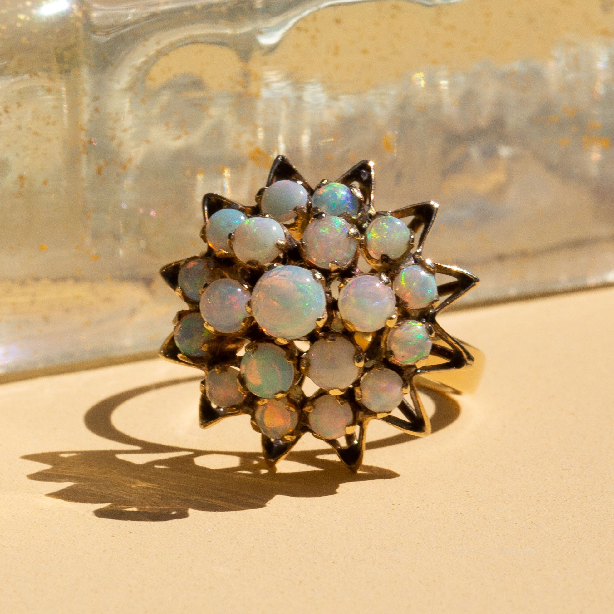 Opal Tiered Cluster and 12k Gold Ring
