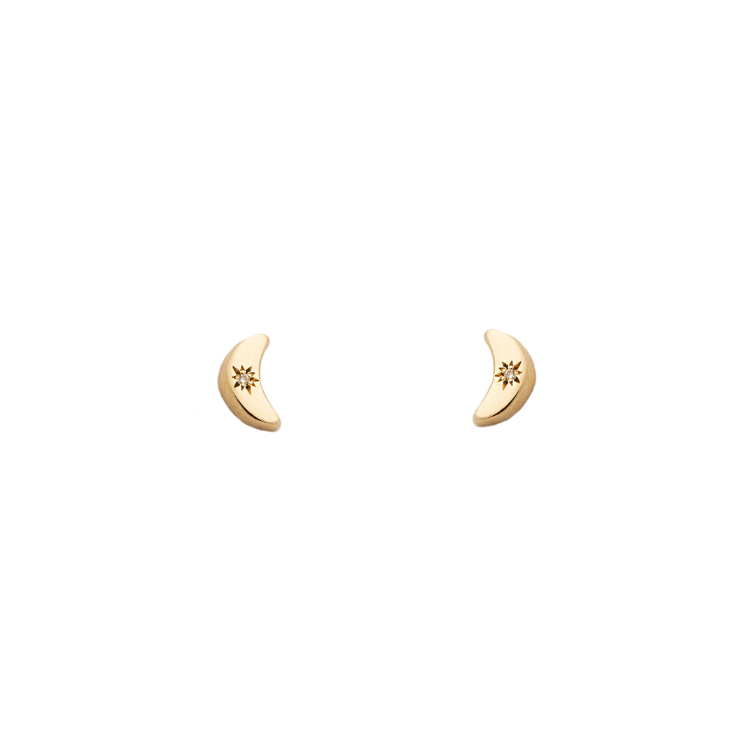 The F&B Diamond Crescent Moon Stud Earring