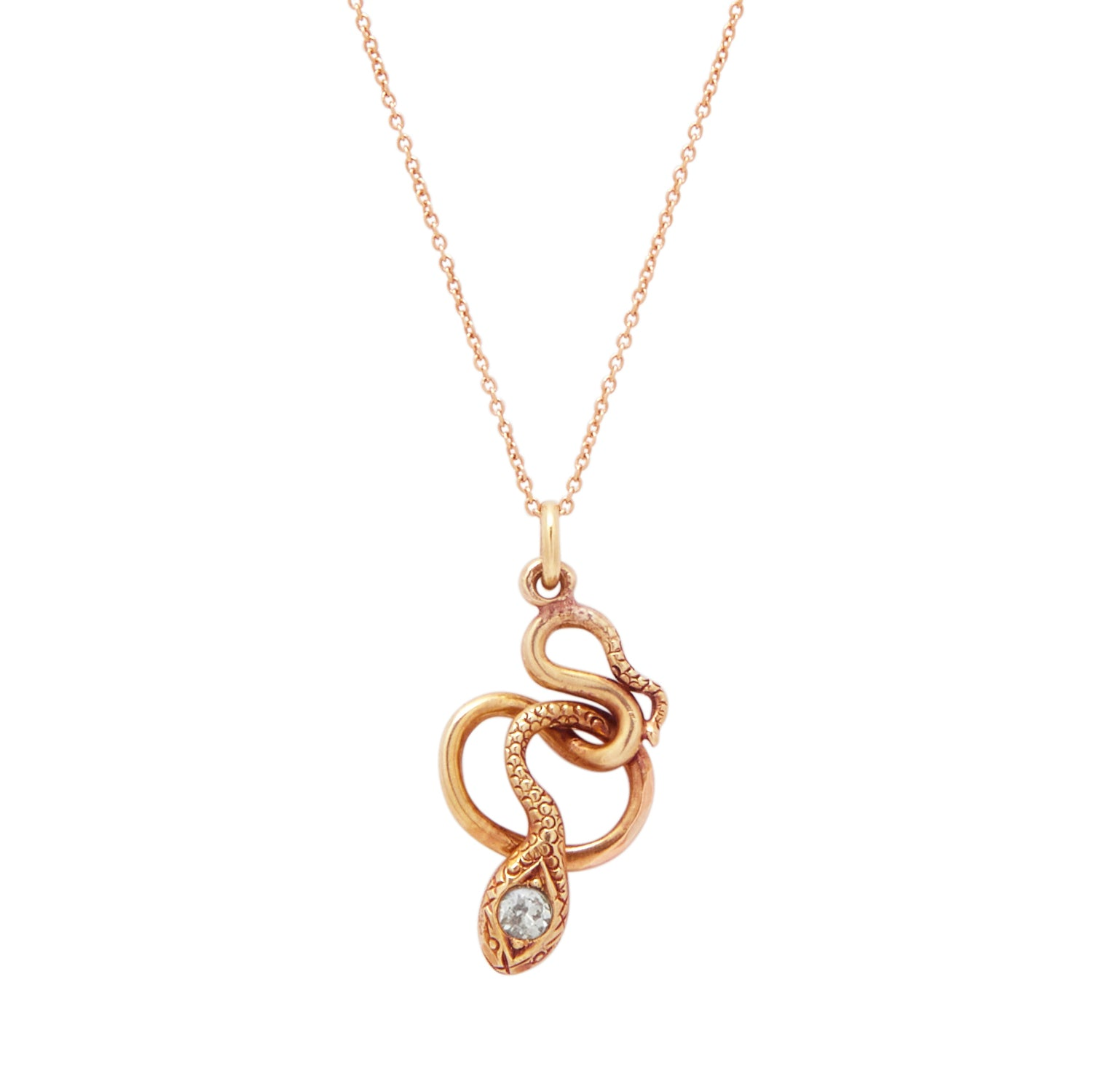 The F&B Rose Gold Snake Charmer Necklace