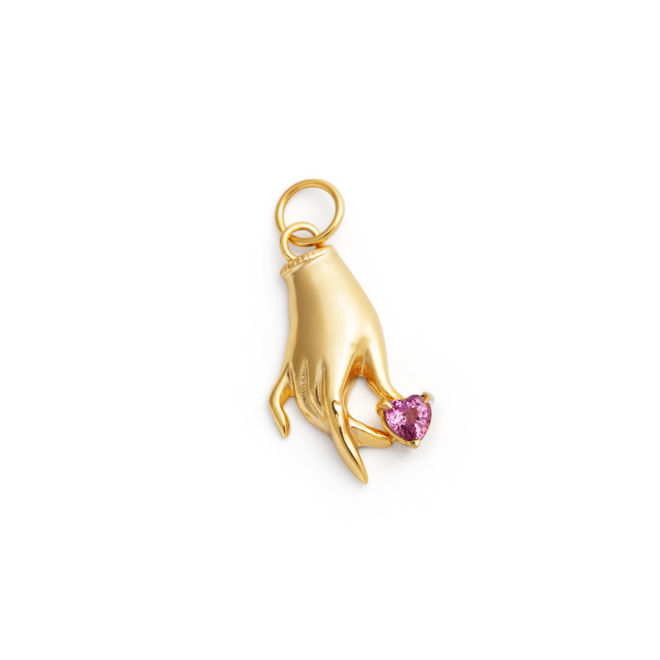 The F&B Pink Sapphire Heart Hand Charm