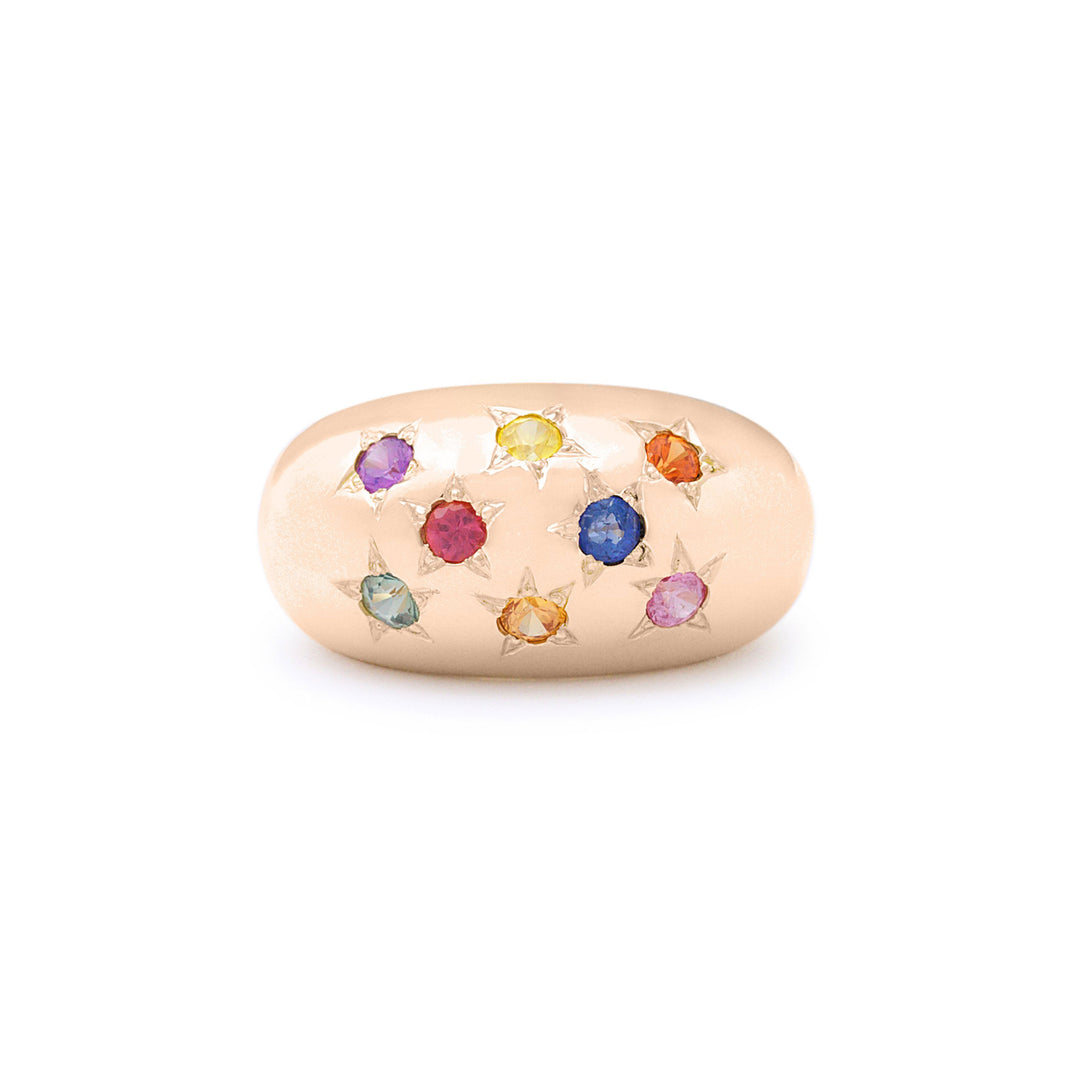 The F&B Multi-Colored Sapphire Starburst Dome Ring
