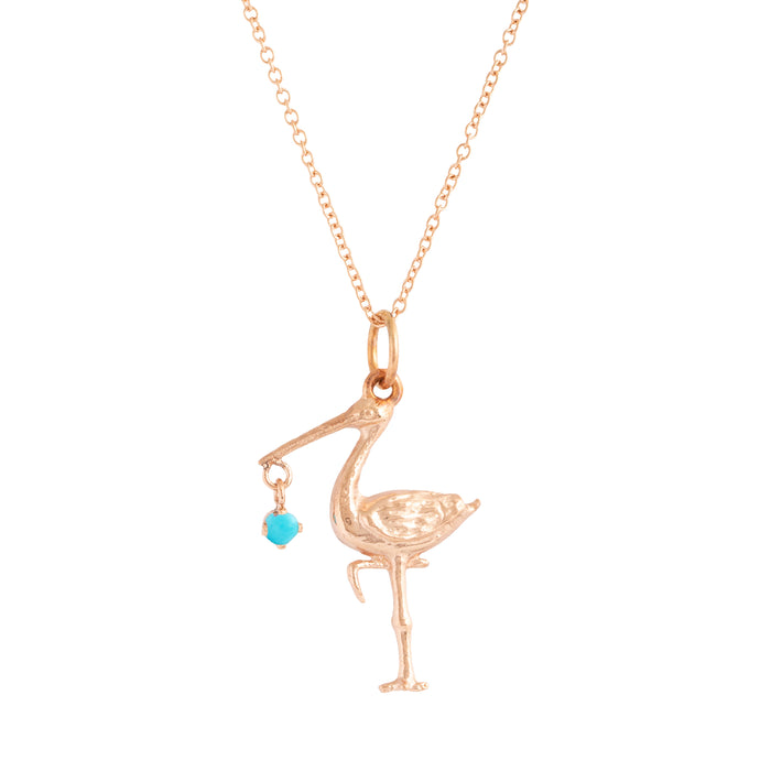 The F&B Rose Gold Birthstone Stork Necklace