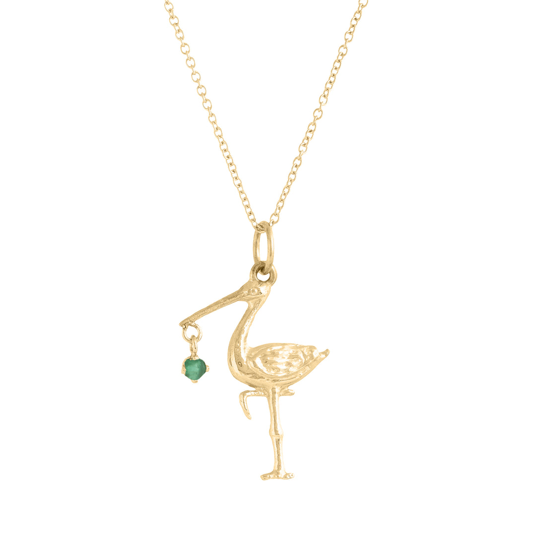 The F&B Yellow Gold Birthstone Stork Necklace