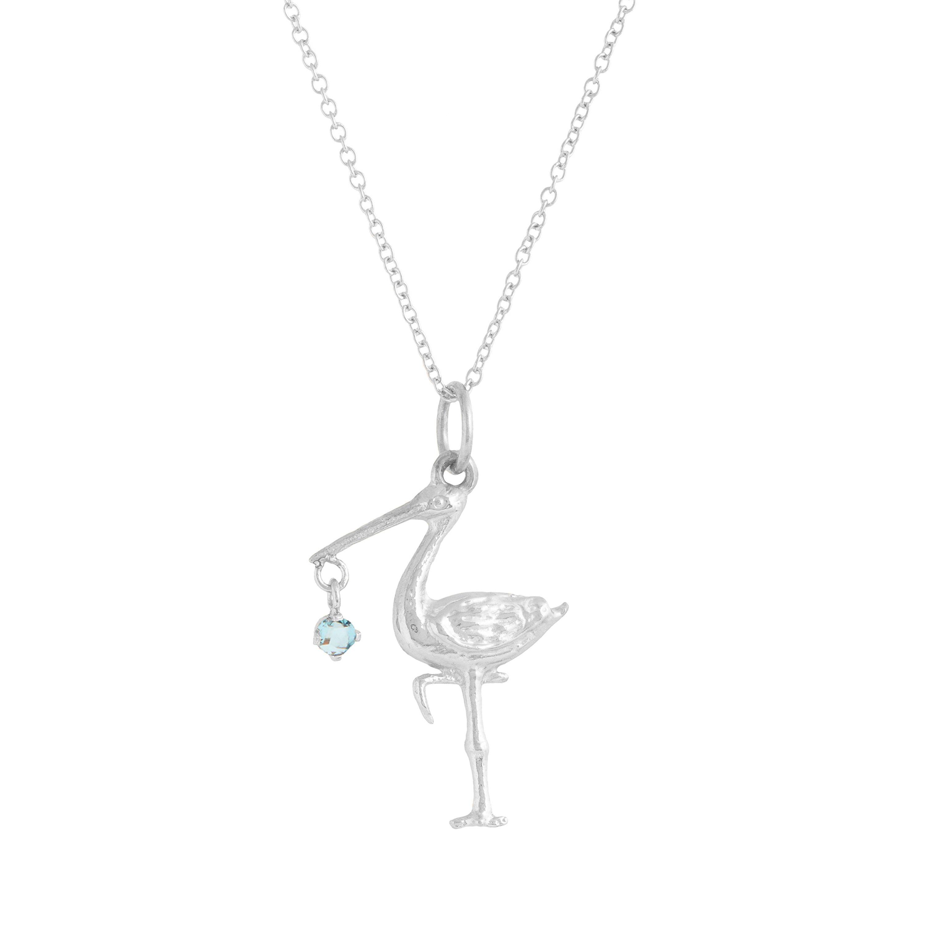 The F&B White Gold Birthstone Stork Necklace