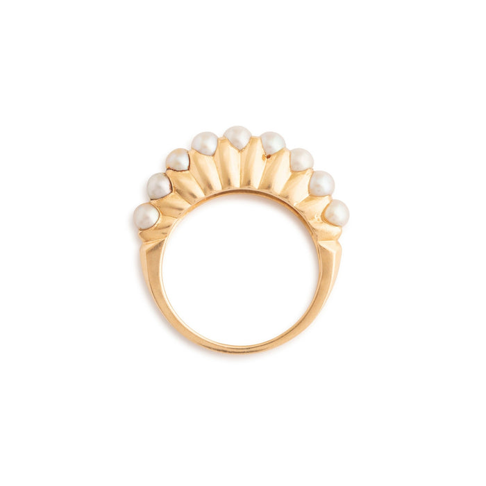 Sculptural Pearl and 14k Gold Ring