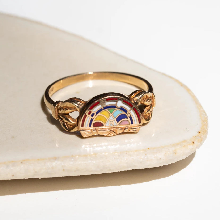 The International Order of the Rainbow for Girls Enamel and 10K Ring