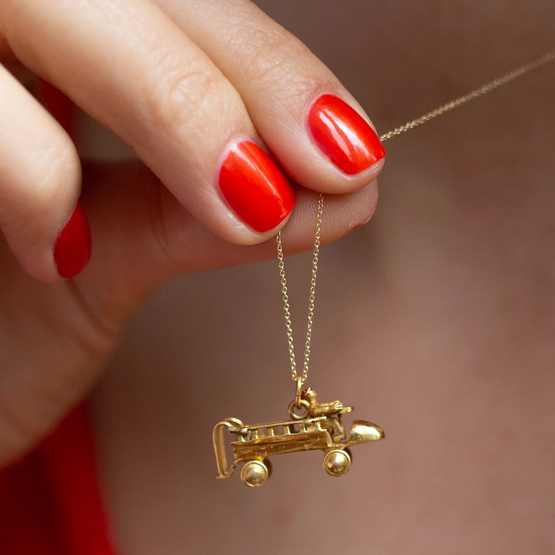 Fireman And Truck Movable 14k Gold Charm