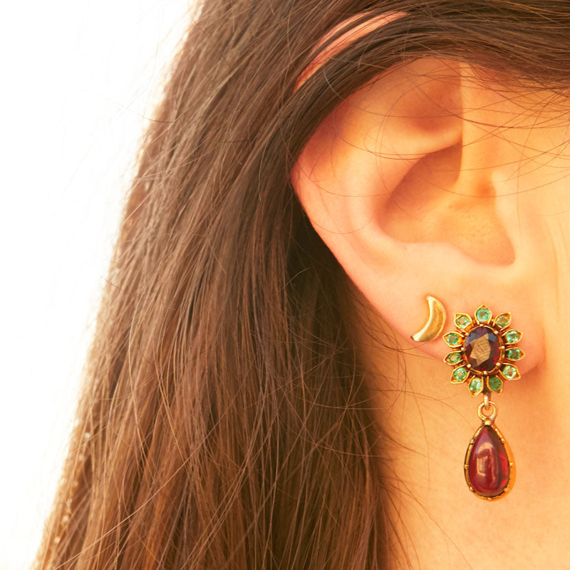 Garnet And Emerald 14k Gold Earrings