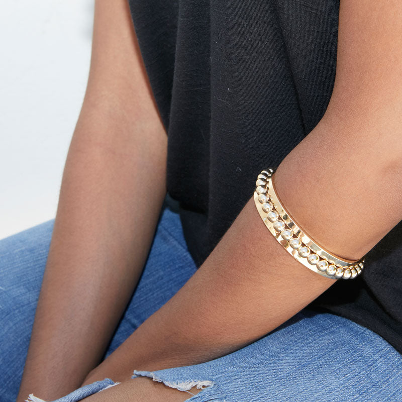 14k Gold Ball Bangle Bracelet