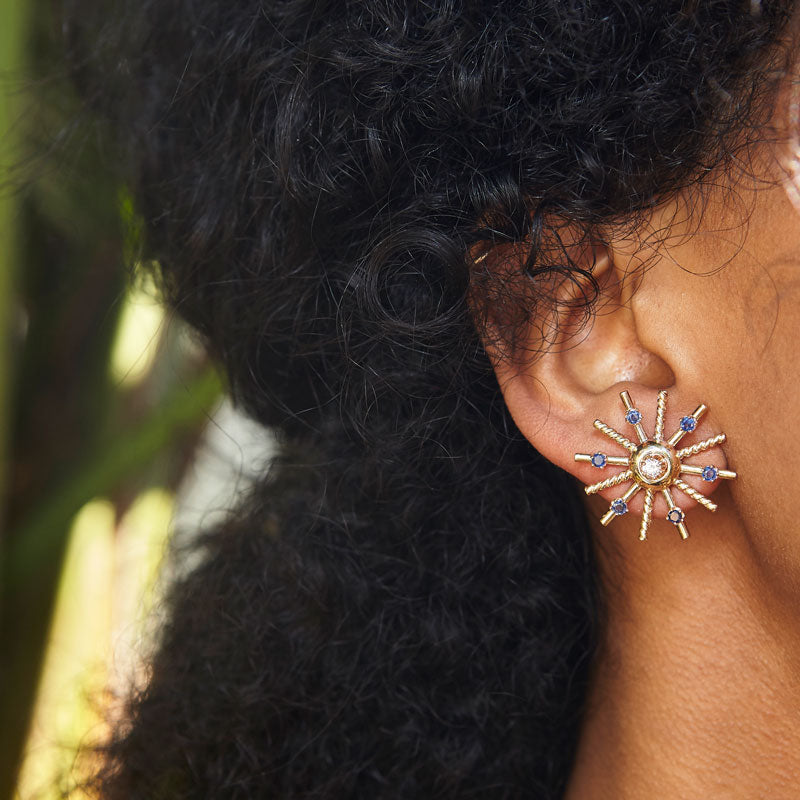 Retro Gold Sunburst Earrings With Sapphires And Diamonds