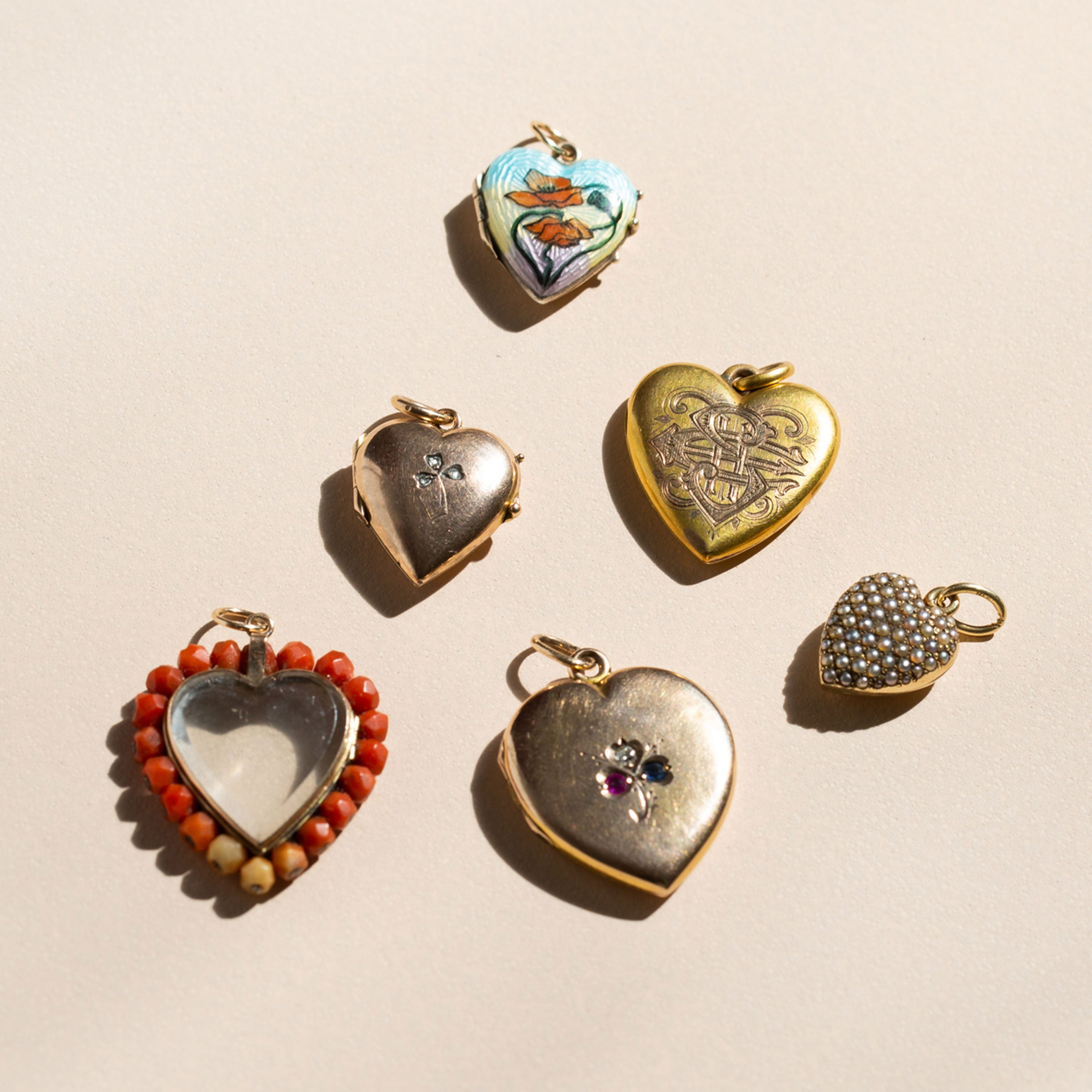 English Poppy Enamel And 9K Gold Heart Locket