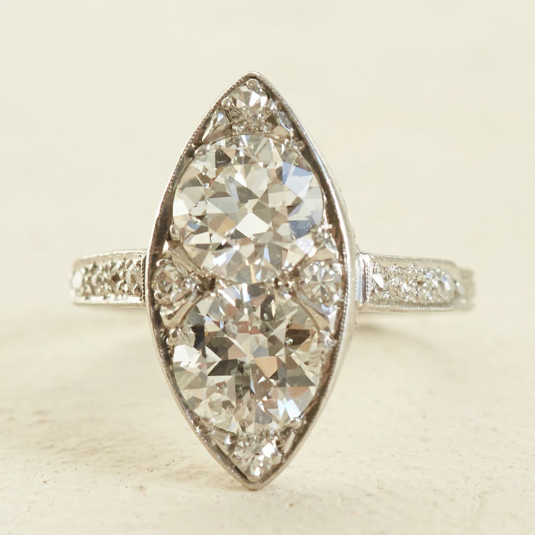 Art Deco Double Diamond and Platinum Navette Ring