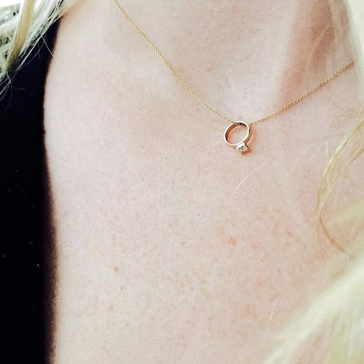 The F&B White Gold Birthstone Mini Ring Necklace