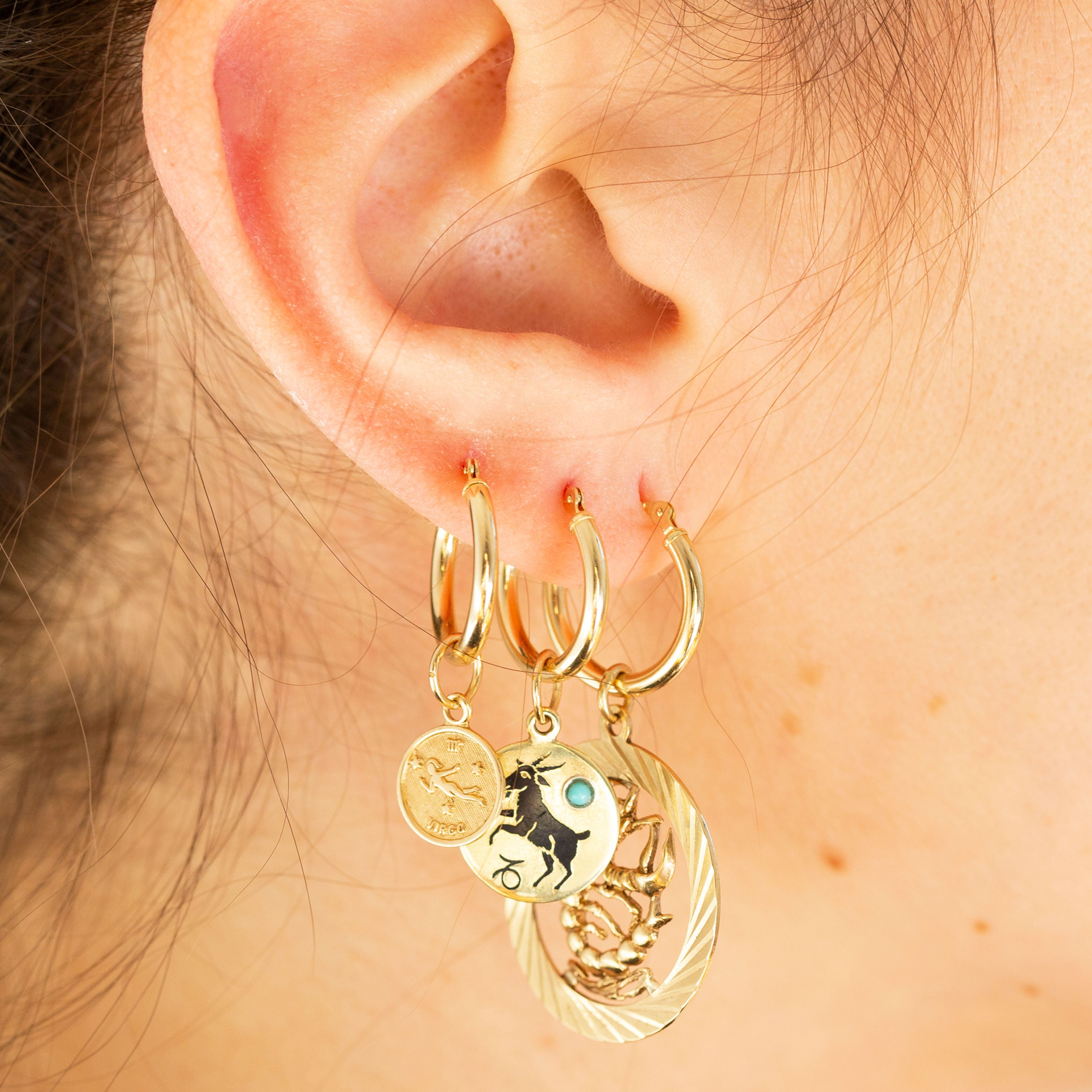 Capricorn Enamel And 14k Gold Charm