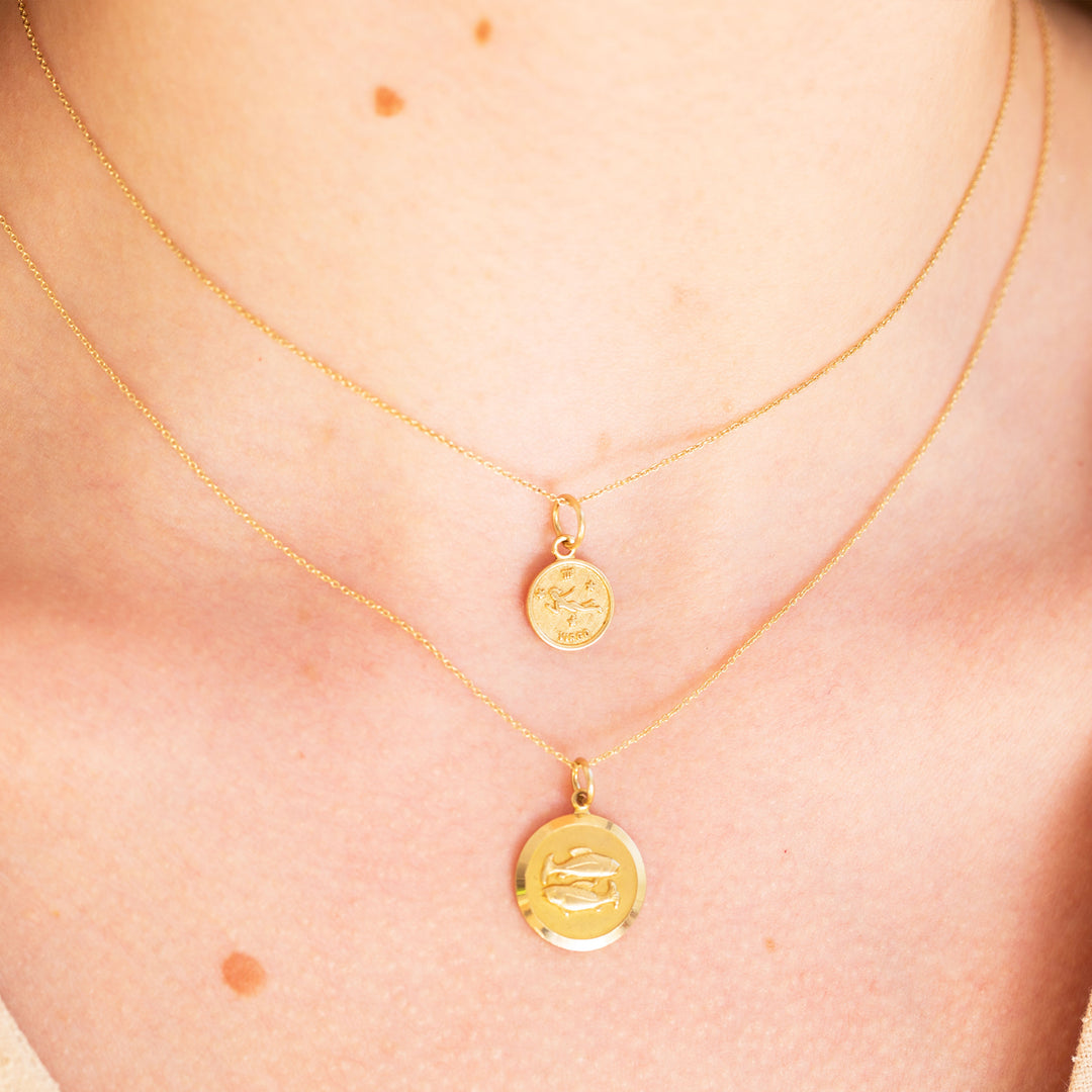 English Pisces 9k Gold Zodiac Charm
