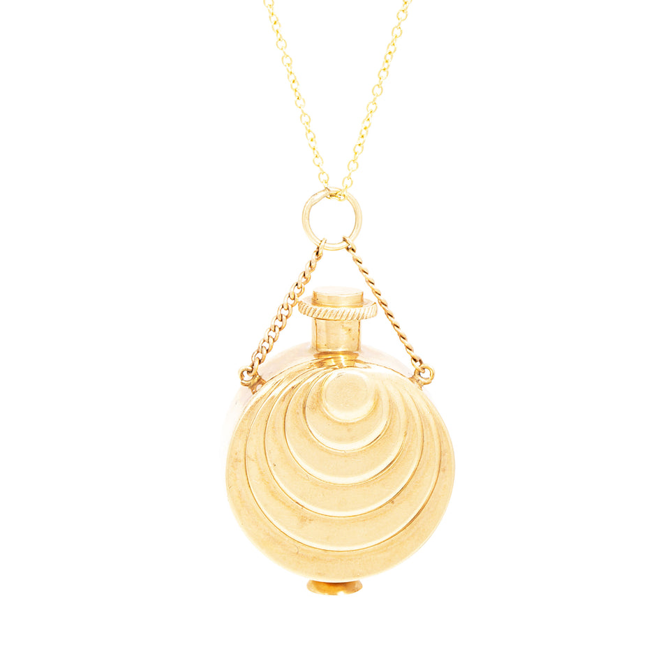14K Gold Perfume Bottle Pendant Necklace