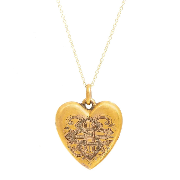 Victorian Monogrammed 14k Gold Heart Locket