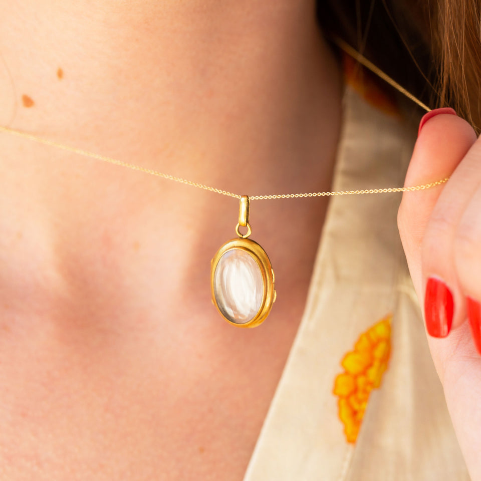Clear Crystal And 14k Gold Locket Necklace