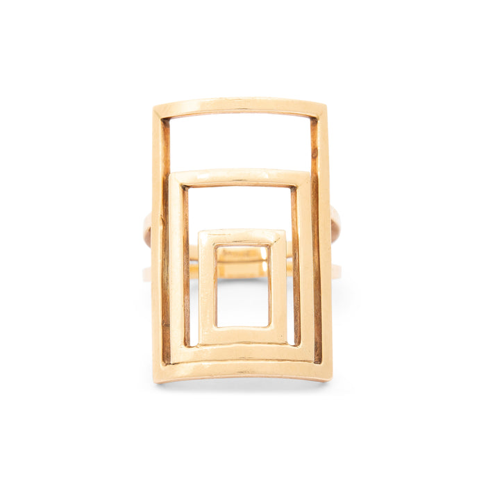 Large Geometric 14k Yellow Gold Ring