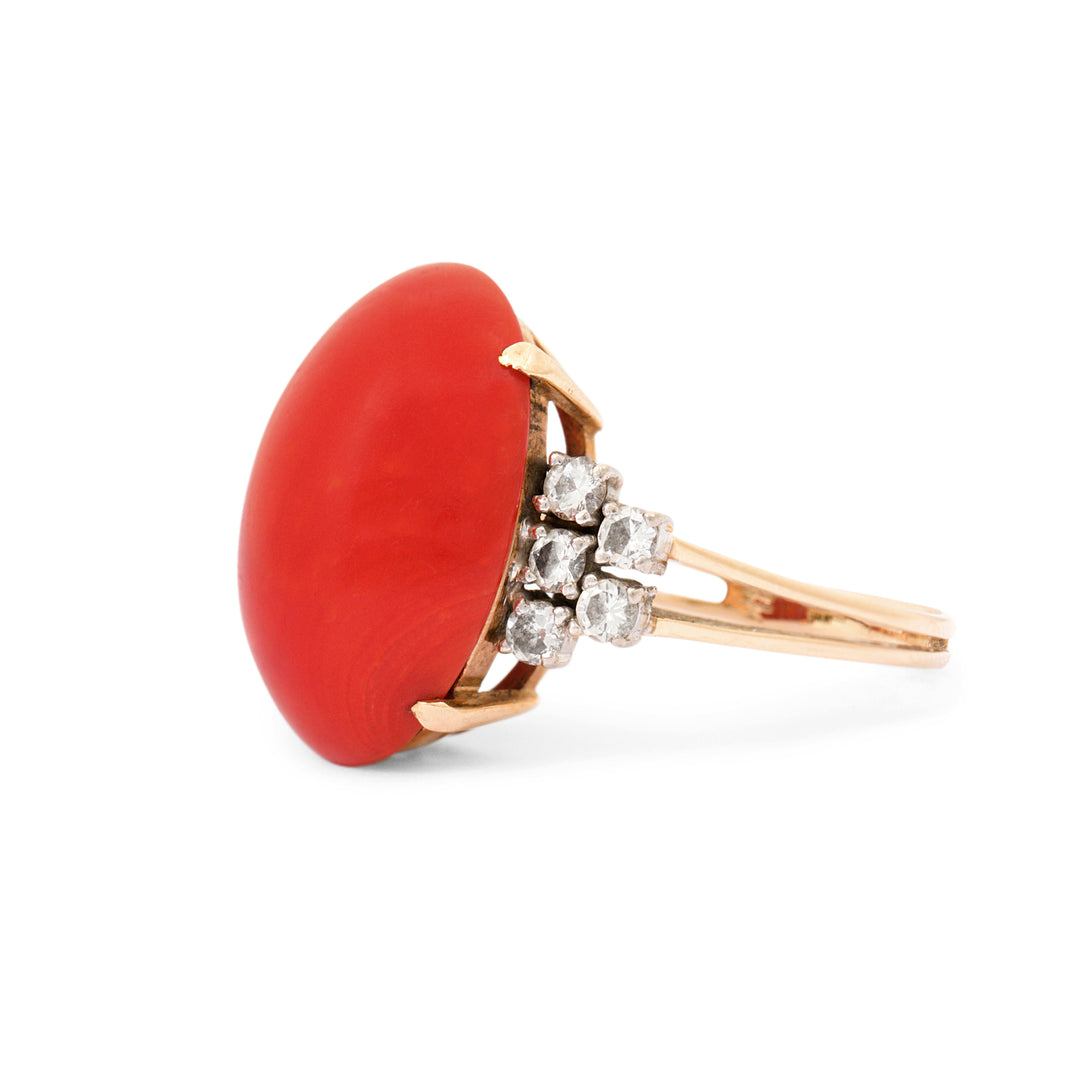 Red Coral And Diamond 14k Gold Cocktail Ring