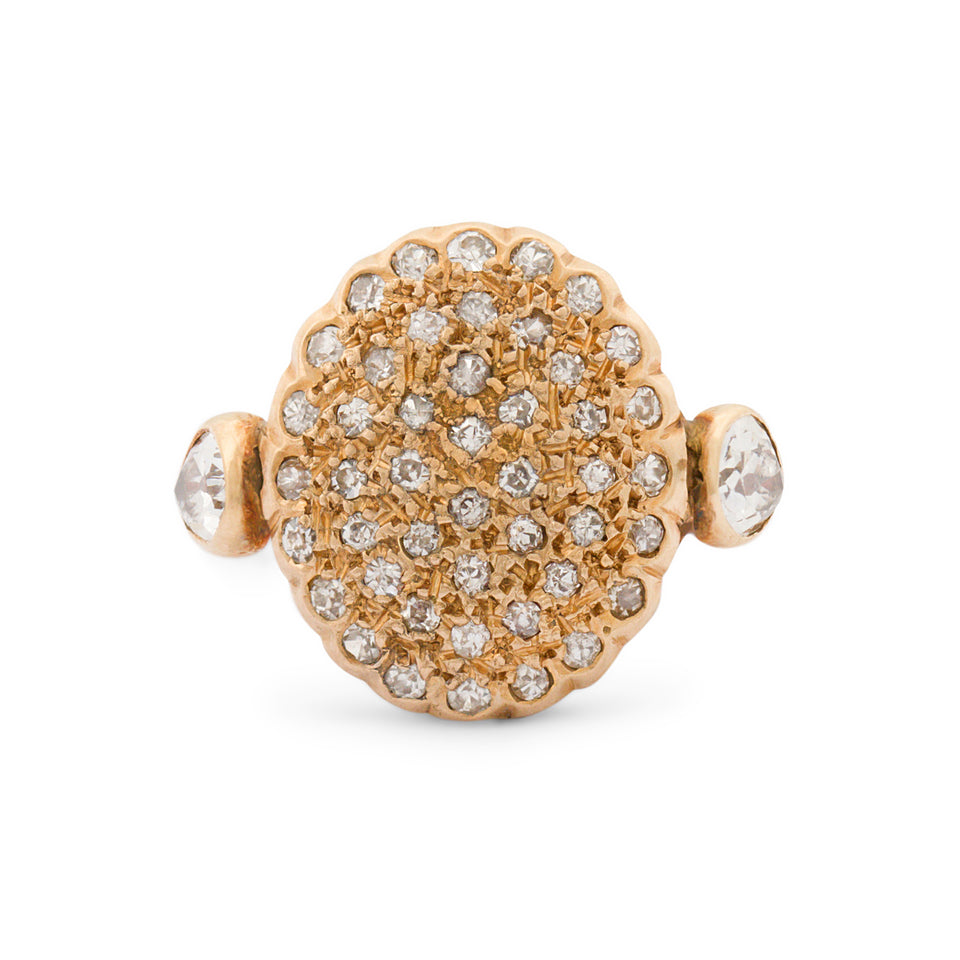 Pave Disc And Pear-Shaped Diamond 14k Gold Ring
