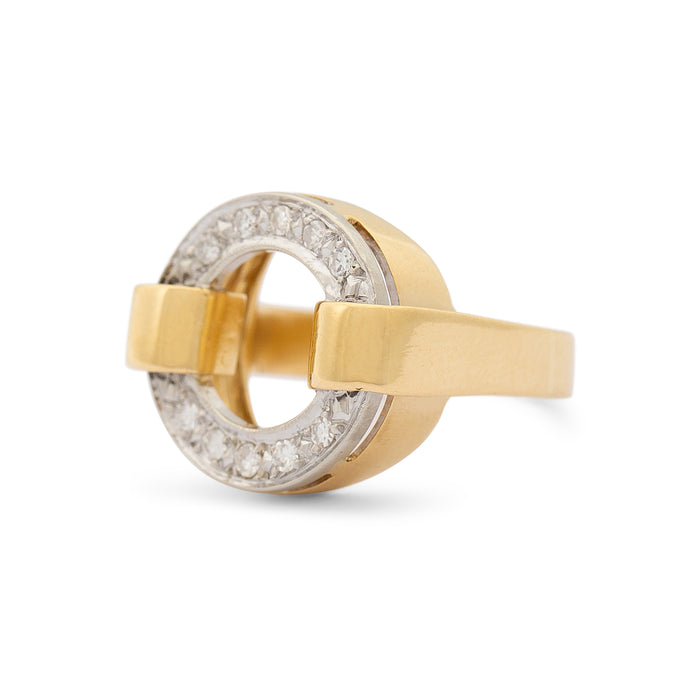 Open Circle Diamond And 18k Gold Ring