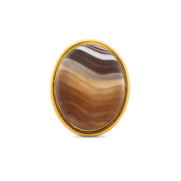 Large Banded Agate And 14k Gold Ring