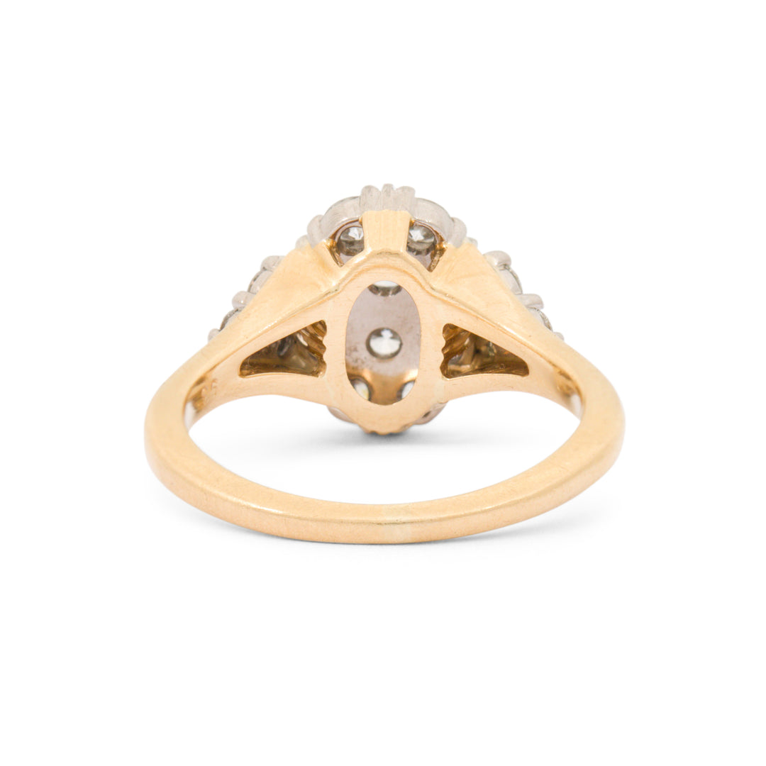 Jabel Oval Diamond Cluster 18k Gold Ring