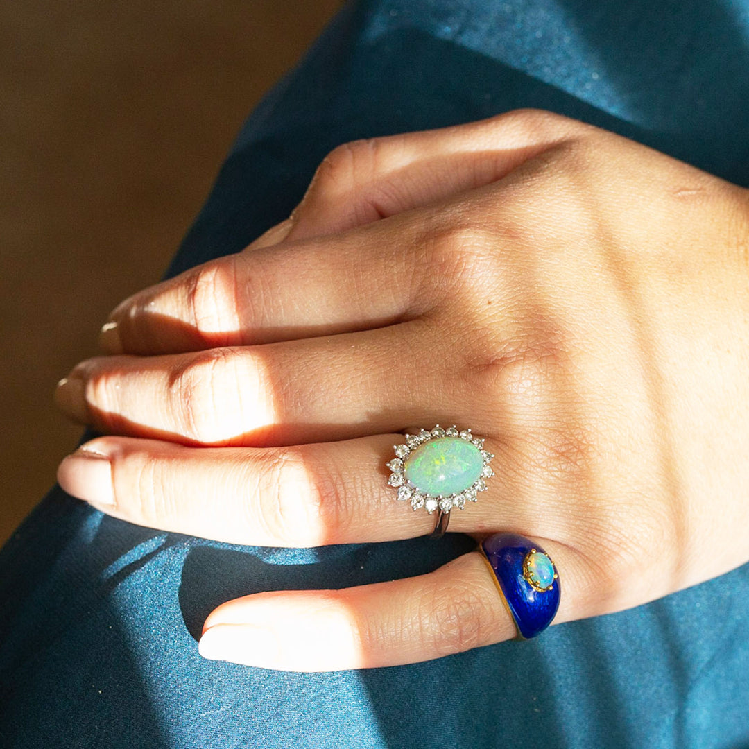 Italian Opal And Blue Enamel 18k Gold Dome Ring