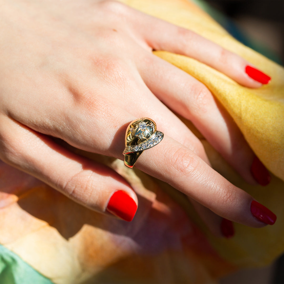 Retro Starburst 14K Gold and Diamond Dome Ring